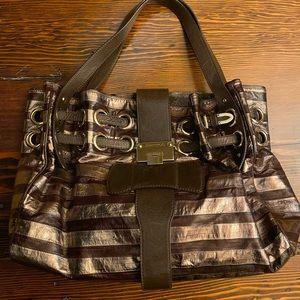 Jimmy Choi Metallic Striped Leather Handbag